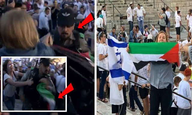 الناشطة التونسية ترفع علم فلسطين وسط مسيرة الأعلام للمستوطنين