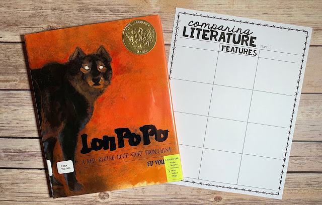 "Mentor Text with text ""Lon Po Po"" and Graphic Organizer with text ""Comparing Literature"""