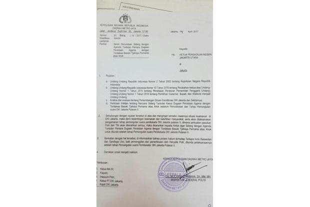 Jika Surat Penundaan Sidang Ahok Itu Asli, Kapolda Metro Jaya Terlibat Politik Praktis