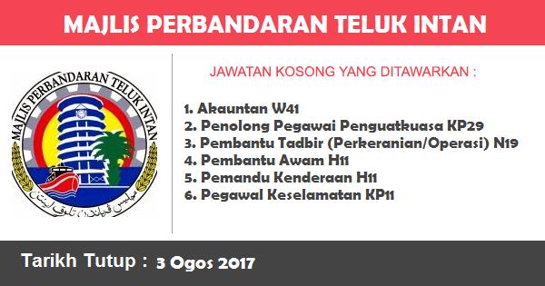 Jawatan Kosong di Majlis Perbandaran Teluk Intan (MPTI)