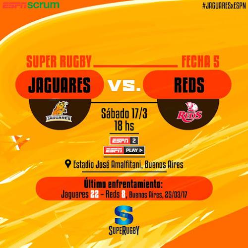 Jaguares - Reds (en vivo, Super Rugby, ESPN 2).