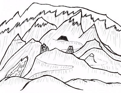 A hand drawn map of a mountain range, showing one obvious road to a tunnel entrance, a lesser road to the right, fresh avalanche scars, and dark openings at the tops of some peaks