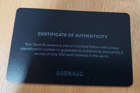 Карточка-сертификат от камеры Zenit M