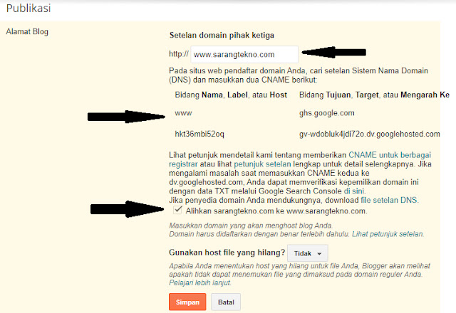 tampilan settingan domain blogger