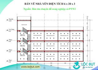 Bản vẽ nhà yến diện tích 6x20x3.