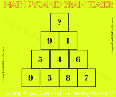 It is the Brain Challenge in Mathematics for school going teens in which one has to find the value of of the missing number