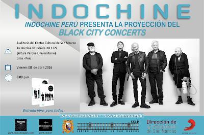 Proyección del Black City Concerts de Indochine en la UNMSM