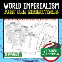 World Imperialism, World History Outline Notes, World History Test Prep, World History Test Review, World History Study Guide, World History Summer School Outline, World History Unit Overview, World History Interactive Notebook Inserts