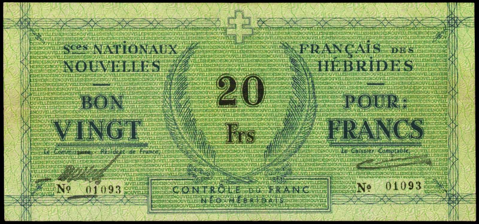 New Hebrides banknotes 20 Francs note 1943
