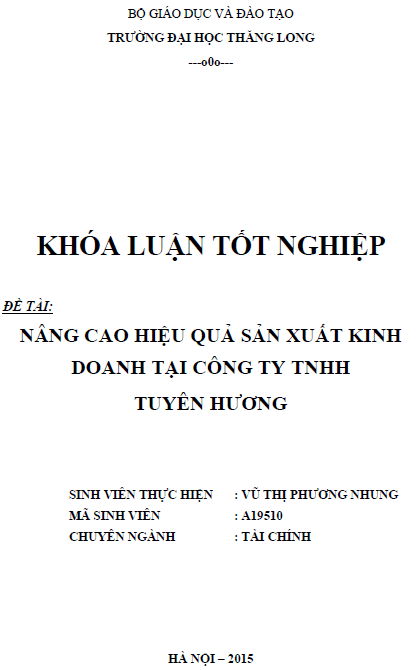 Nâng cao hiệu quả sản xuất kinh doanh tại Công ty TNHH Tuyên Hương
