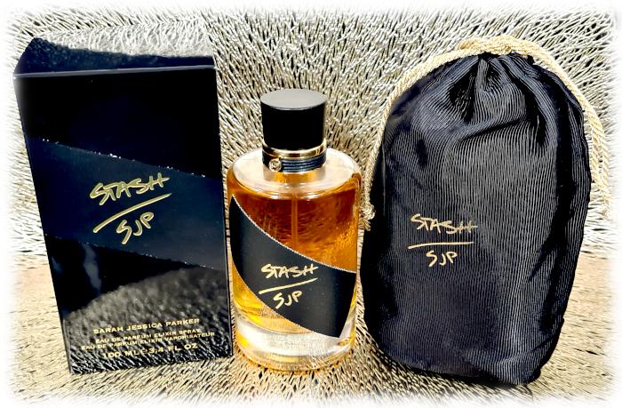 SJP Stash bottle, box and drawstring bag