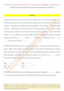 board resolution for holding company to honor obligation of subsidiary company