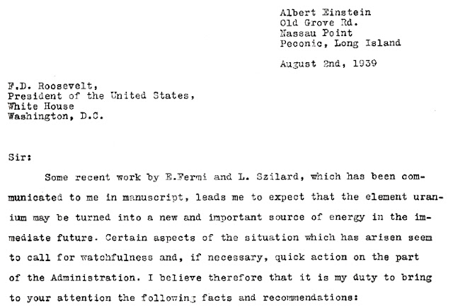 A. Einstein's letter to president F.D. Roosevelt. List A. Einsteina do prezydenta F.D. Roosevelta.