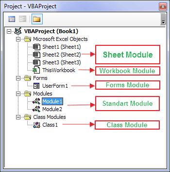 Jenis atau Tipe Module pada VBA Excel
