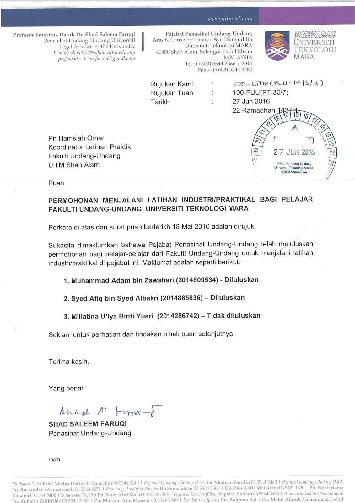 Contoh Surat Rasmi Drop Subjek Spm - Surat Rasmi D