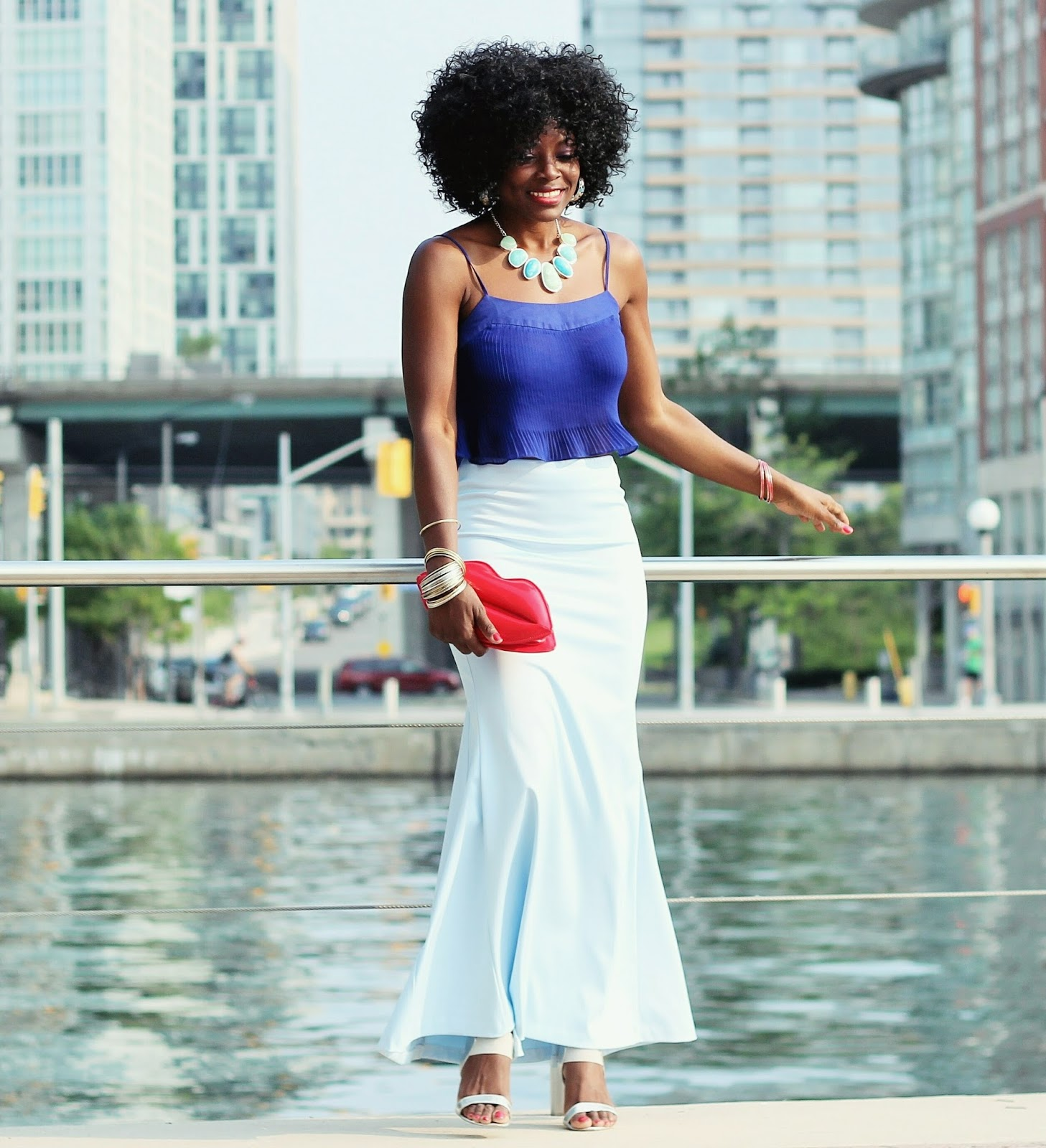 BLUE ON BLUE | CROP TOP x MAXI SKIRT