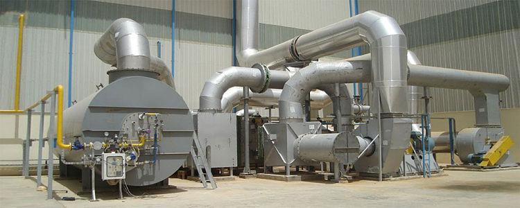 Oxidador térmico instalado en planta industrial