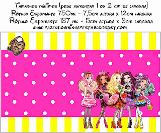 Ever After High Amarillo y Rosa: Etiquetas para Candy Bar para Imprimir Gratis.