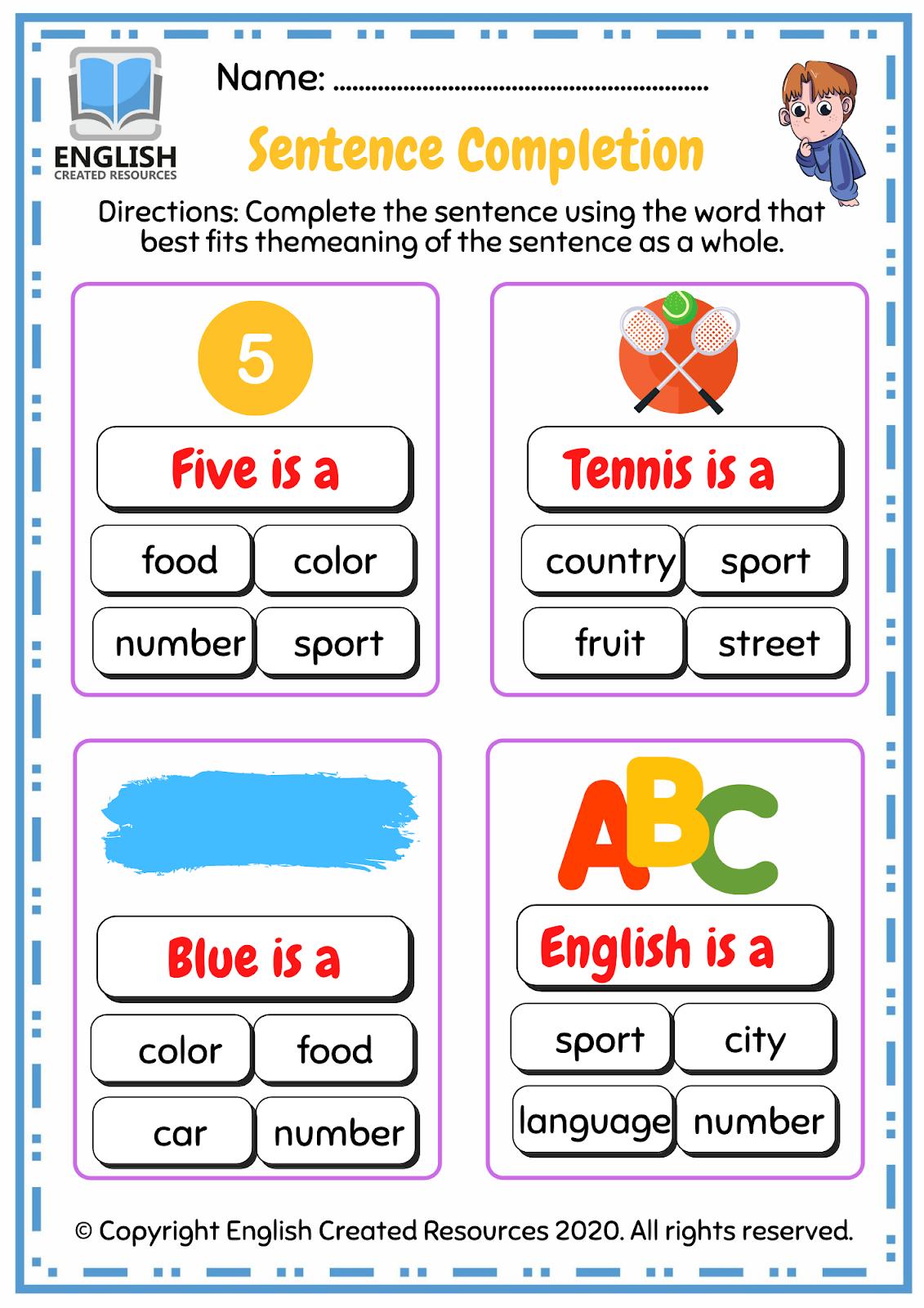 Sentence Completion Grade 1