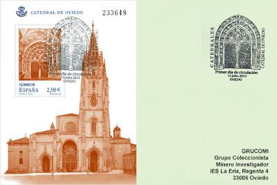 tarjeta, sello, matasellos, catedral, Oviedo