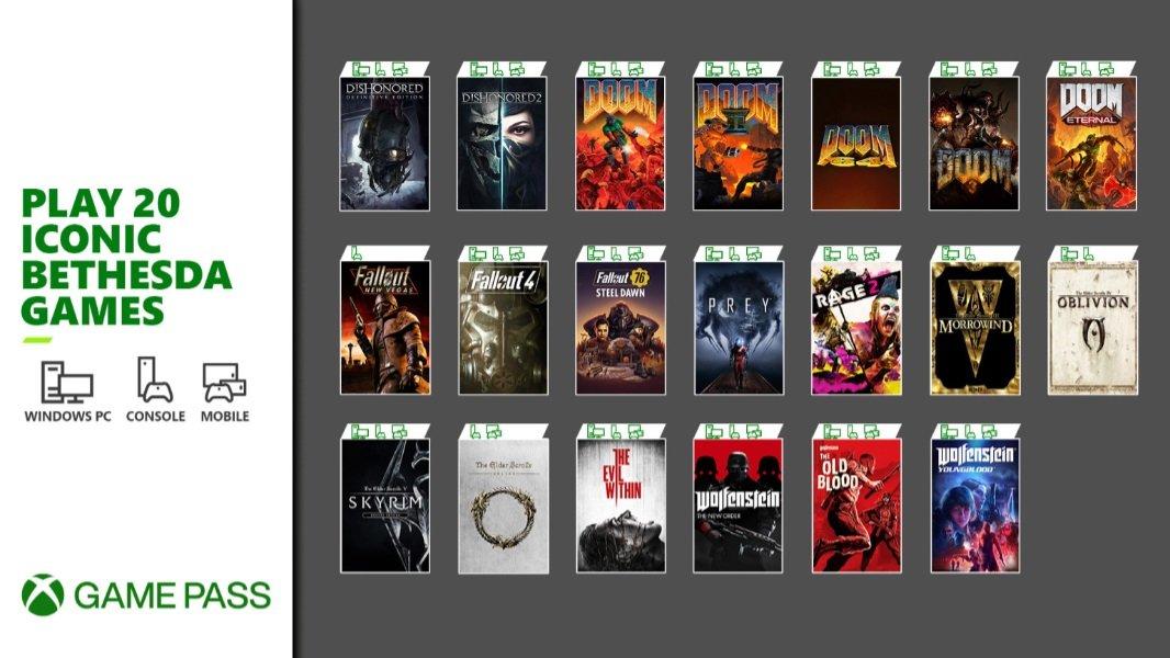 Xbox Game Pass ottiene 20 giochi iconici Bethesda