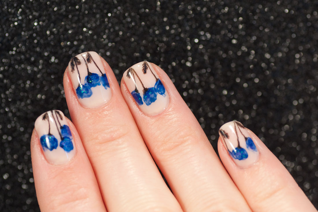Blue Poppy Floral Nail Art