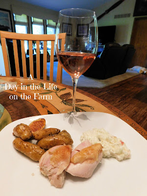 dinner plate and wine