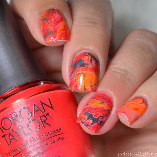 hot coral fluid nail art