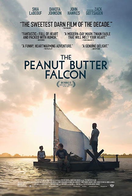 Movie poster for Roadside Attractions's 2019 comedy adventure film The Peanut Butter Falcon, starring Zack Gottsagen, Shia LaBeouf, Dakota Johnson, Bruce Dern, Thomas Haden Church, Jon Bernthal, John Hawkes, Yelawolf, Jake Roberts, and Mick Foley