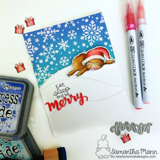 Eat, Sleep and Be Merry Card by Samantha Mann | Slothy Christmas Stamp Set, Land Borders Die Set, and Snowfall Stencil by Newton's Nook Designs #newtonsnook #handmade