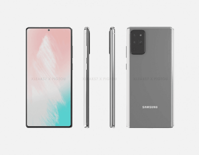 The other render of the Galaxy Note20 showing a flat display