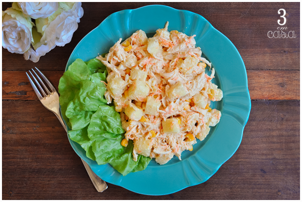 receita salada frango com abacaxi