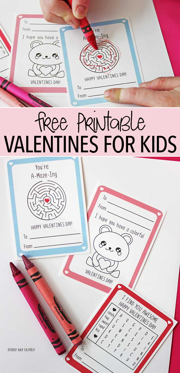Free printable Valentine cards for kids - these are so cute with an activity on each one! Valentine's Day | For Kids | Coloring Pages | Kids Activities | Kids Crafts | Valentine Crafts for Kids