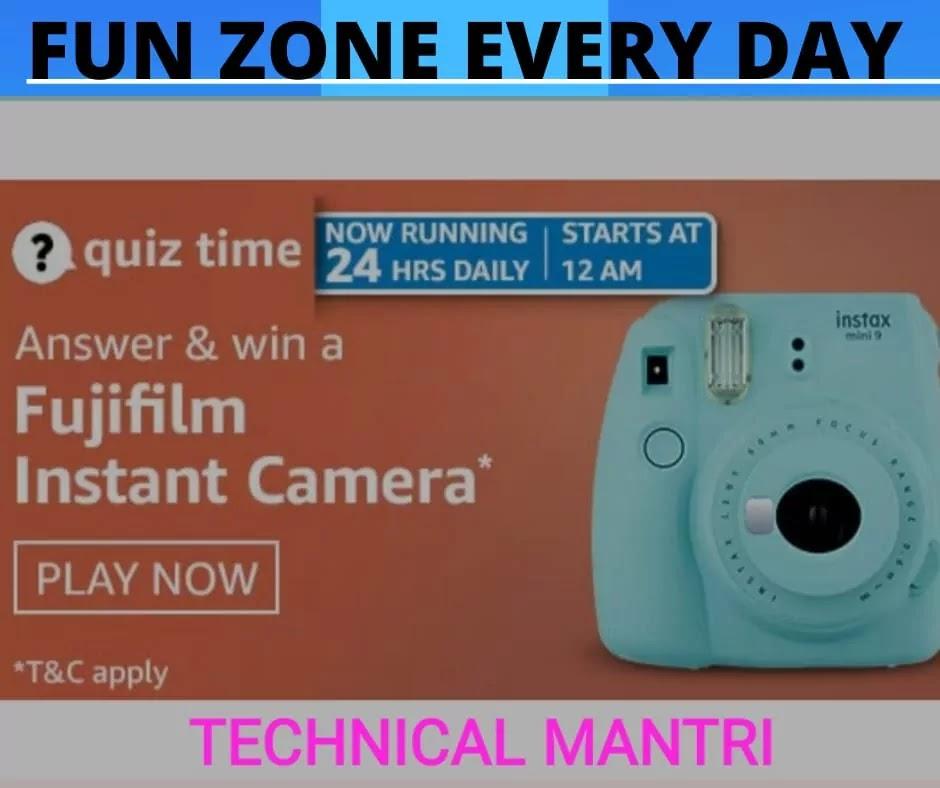Amazon quiz answers today for 8th April 2021 : Win Fujifilm Instant Camera