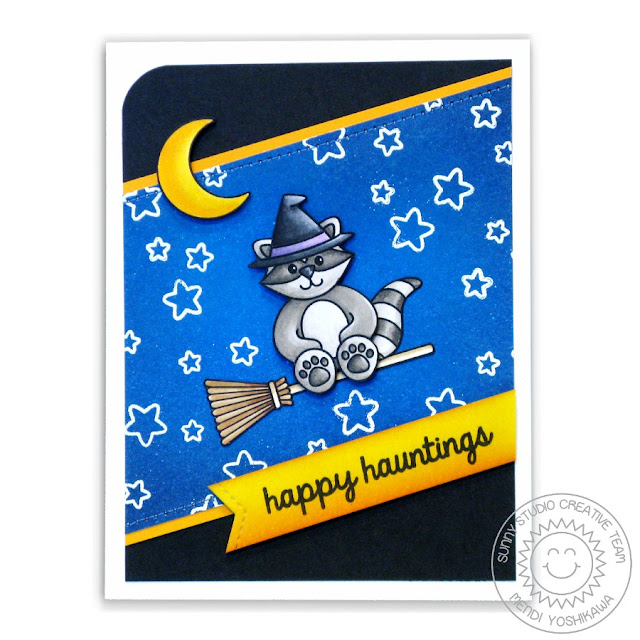 Sunny Studio Stamps: Halloween Cuties Raccoon Card by Mendi Yoshikawa