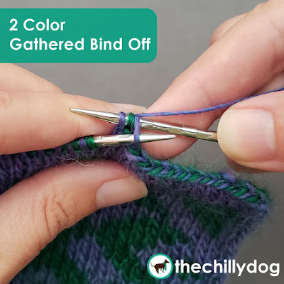 Knitting Tutorial: How to do the gathered bind off with 2 colors for double knitting