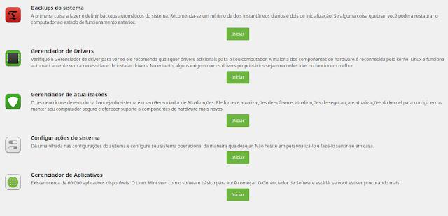 Configurações iniciais do Linux Mint