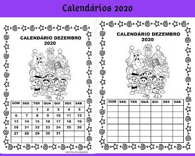 Calendário Dezembro turma da Mônica para imprimir colorir e preencher em 2020.