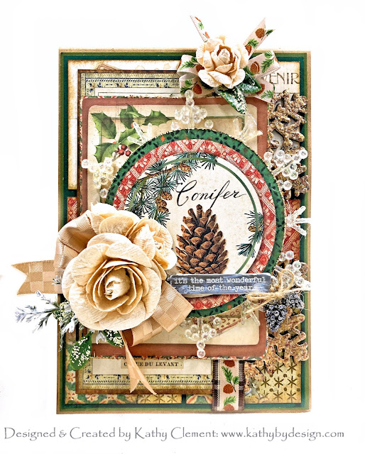 Really Reasonable Ribbon December Ribbon Club Assortment Stamperia Winter Botanic by Kathy Clement