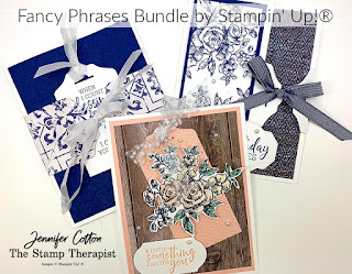 These three cards use Stampin' Up!'s Fancy Phrases Bundle (includes Fancy Tag Topper Punch) and the In Good Taste designer paper!  Check out the blog for a video!  #StampinUp #StampTherapist