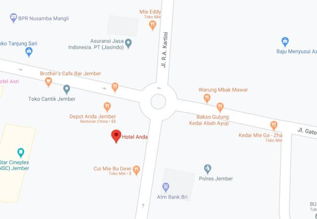 Map Letak Hotel Anda Jember