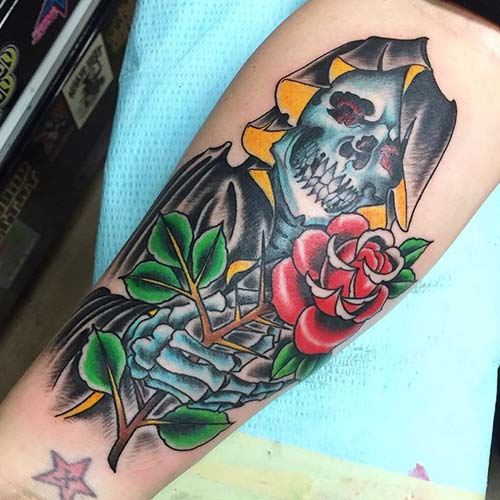 grim reaper tattoos with rose azrail dövmeleri