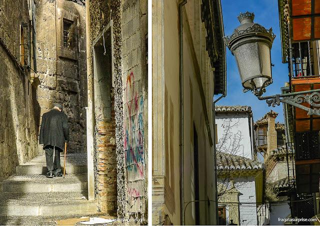 Ladeiras do bairro do Albaicín, em Granada, Andaluzia