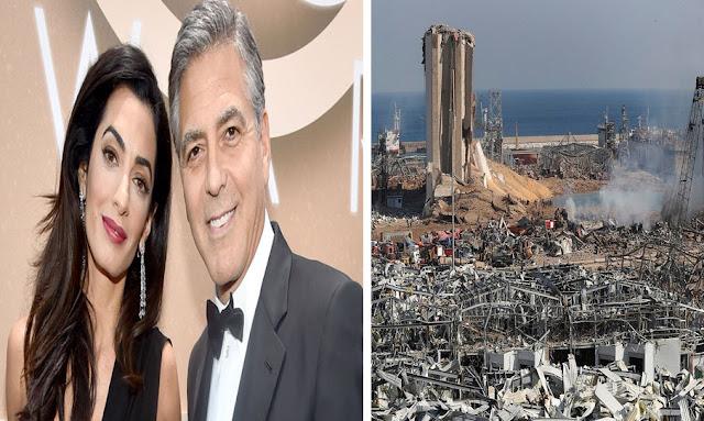 جورج كلونى وأمل علم الدين يتبرعان بـ100 ألف دولار للبنان بعد كارثة بيروت