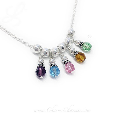 5 Birthstone Charm Necklace for a Grandma with 5 Grandkids!