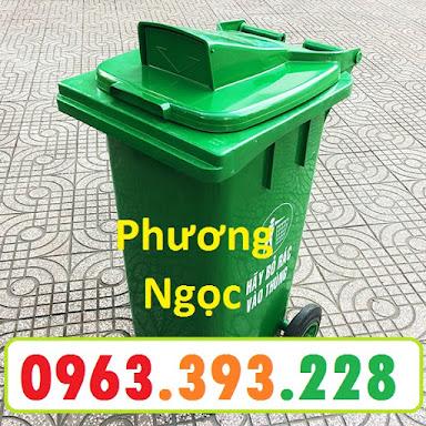 Thùng rác nhựa 120 Lít nắp hở, thùng rác công cộng, thùng rác nắp hở nhựa HDPE TRNH120L2