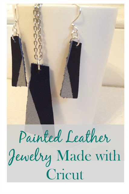 Did you know the Cricut can cut leather? Get the tutorial for a painted leather earrings and  necklace set.
