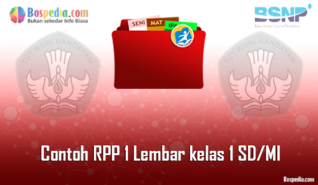 Contoh RPP 1 Lembar kelas 1 SD/MI Daring dan Luring Revisi 2020