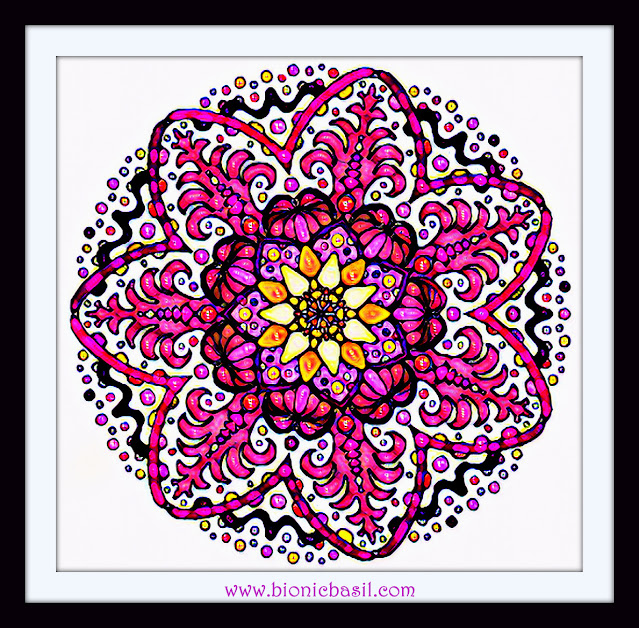 Mandalas on Monday ©BionicBasil® Colouring With Cats Mandala #115 coloured by Cathrine Garnell