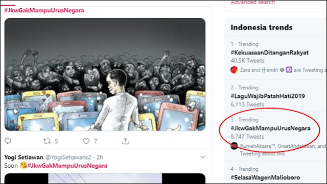 Aksi Berlangsung, Tagar #JkwGakMampuUrusNegara Curi Panggung Trending Topic
